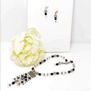 Smokey Black and Silver Swarovski & Onyx Necklace